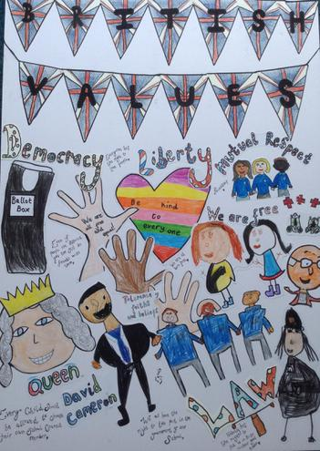 British Values Combined Art Completed By The Children at Church Aston Infant School