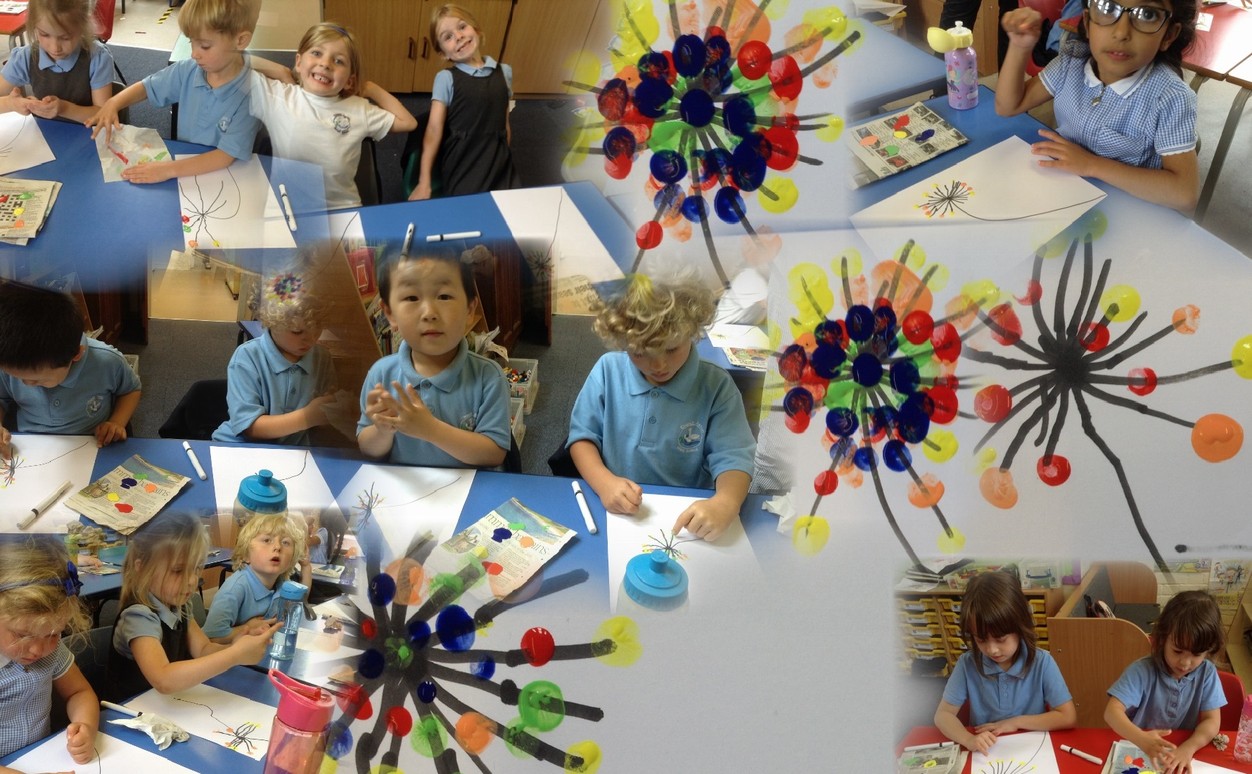 In Art Club we finger painted dandelions.